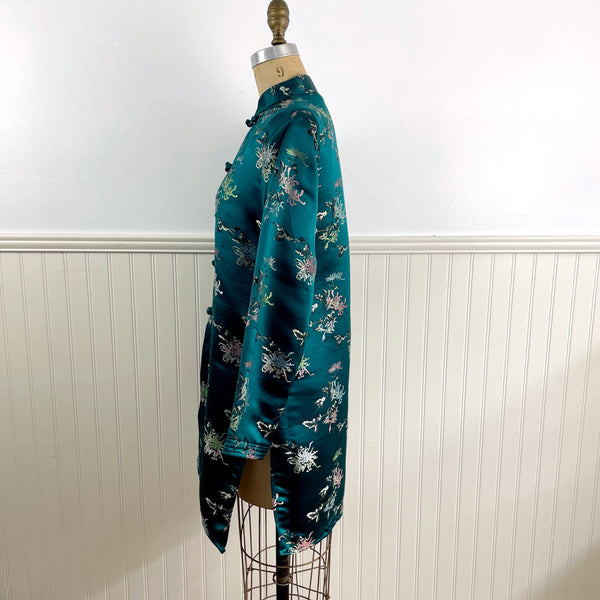 Asian silk jacket - teal with chrysanthemums - size large - 1940s - NextStage Vintage
