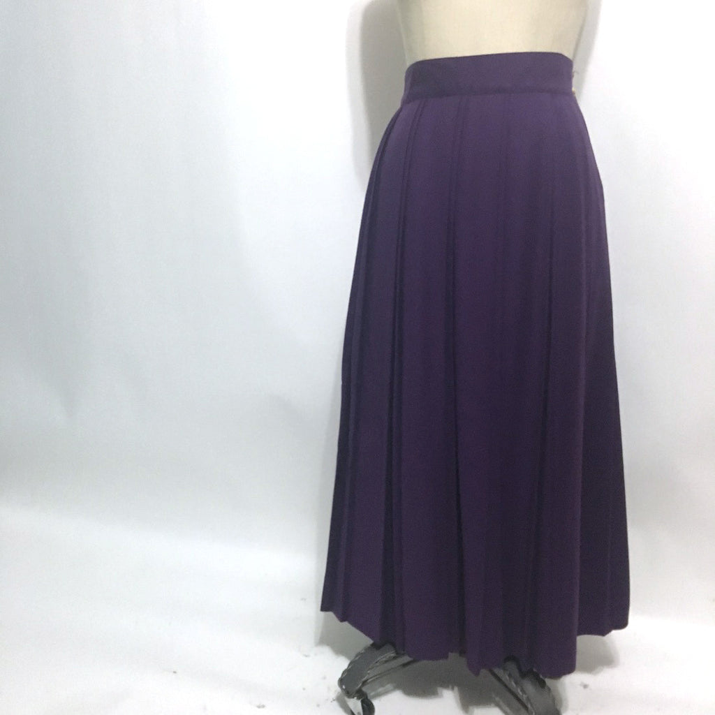 Attache by Herman Geist double pleated midi skirt - royal purple - size small to medium - 1980's - NextStage Vintage
