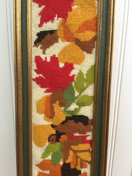 Autumn leaves framed needlepoint - vintage 1970s wall art - NextStage Vintage