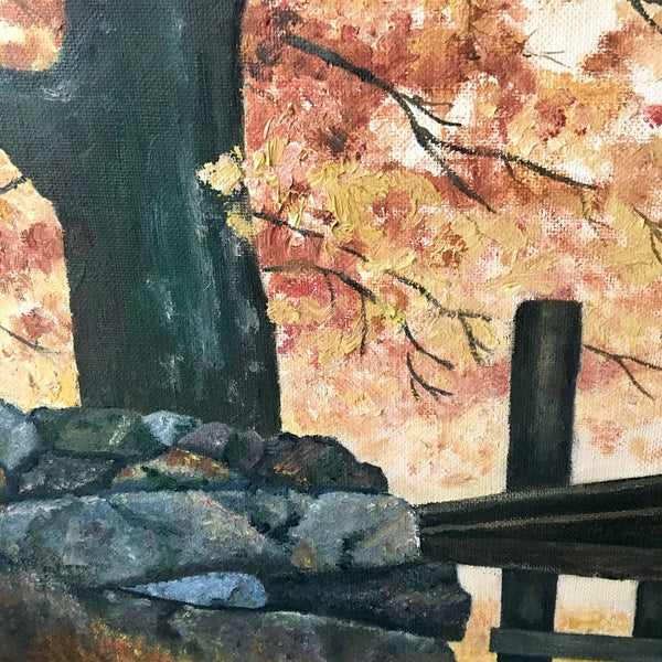 Autumn Leaves fall landscape painting - acrylic on board - 1970s - NextStage Vintage