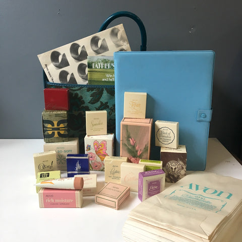 Avon sales kit - vintage 1970s - suitcase, samples, sales receipts, bags and more - NextStage Vintage