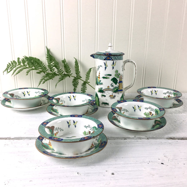 Aynsley 1242 finger bowls with under plates and syrup pitcher - 1910s Asian inspired English china