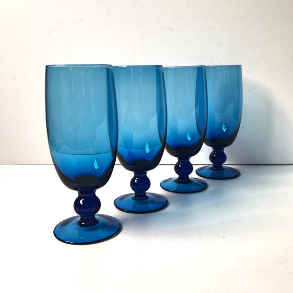 Blown glass footed goblets - set of 4 - Italian azure blue - NextStage Vintage