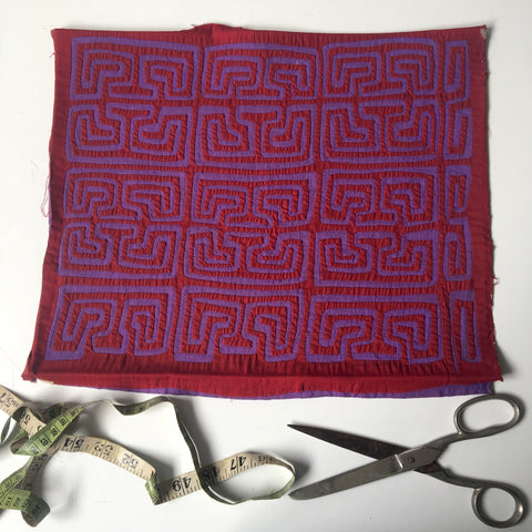 Red and purple Mexican mola - maze pattern - vintage hand stitched art - NextStage Vintage