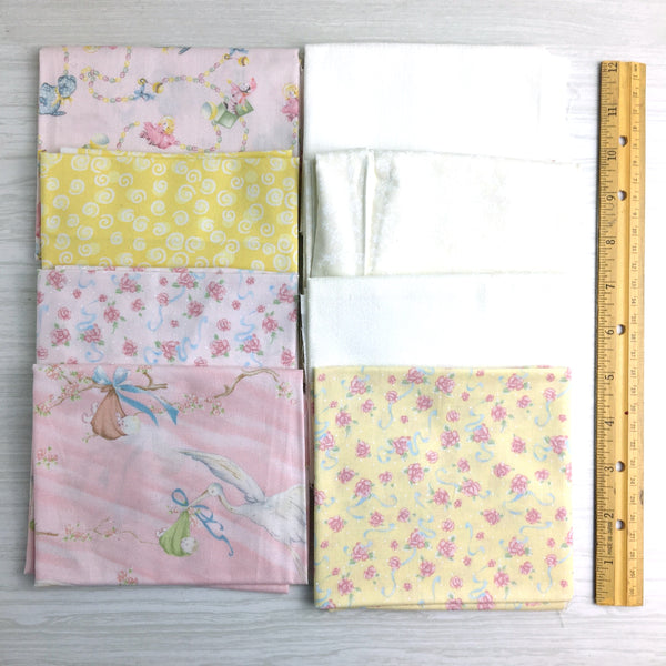 Baby on board fat quarters - 8 pieces - cotton destash lot