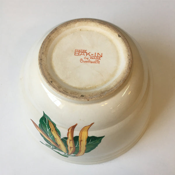 Crooksville Pantry Bak-In by Ware mixing bowl - vegetable decals on each side - 1940s vintage - NextStage Vintage
