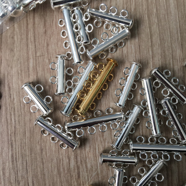 Slide lock clasps - mixed lot of 2-5 multi strand - mixed metals - approx 100 - destash lot - NextStage Vintage