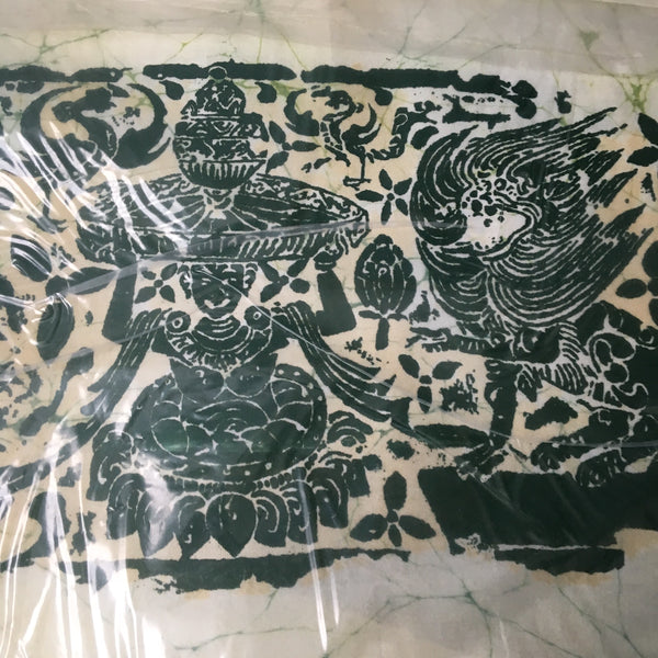 Thai batik panels - three 1970s vintage fabric wallhangings