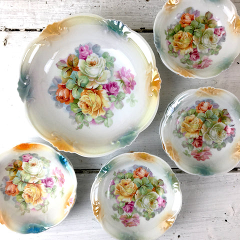 Schumann Bavaria berry bowl set - large bowl with 8 serving bowls - vintage floral china - NextStage Vintage