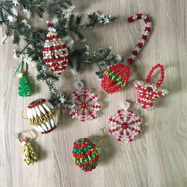 Beaded safety pin ornaments - 10 vintage 1980s Christmas gems