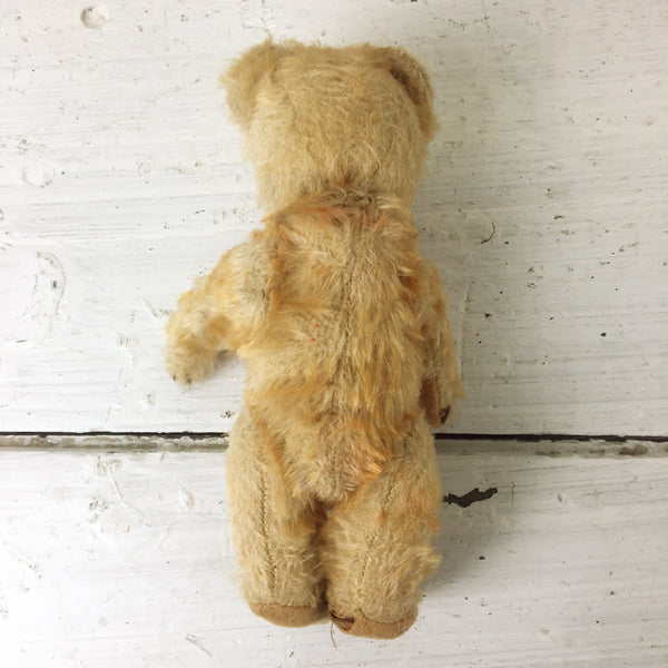 "Antique 8"" mohair bear - straw stuffed and jointed - turn of the century - NextStage Vintage"