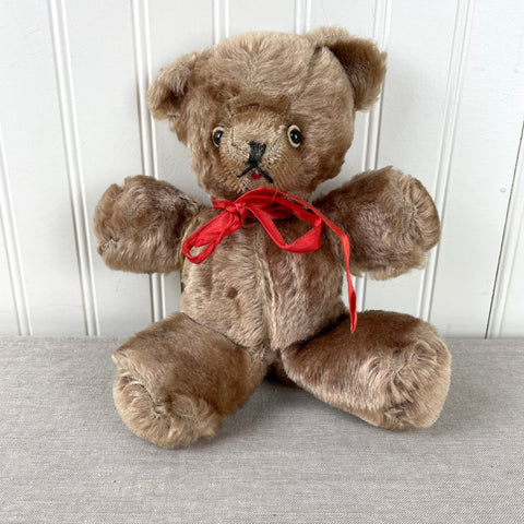 Handmade vintage mohair teddy bear with shoe button eyes - 1940s vintage - NextStage Vintage