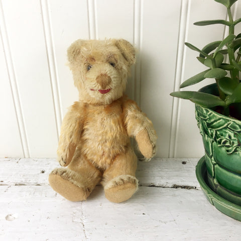 "Antique 8"" mohair bear - straw stuffed and jointed - turn of the century"