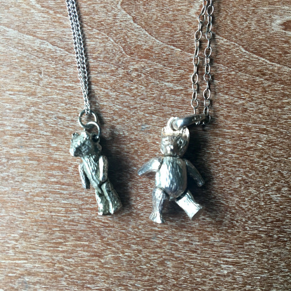 Jointed bear pair of necklaces - vintage teddy bears to wear - NextStage Vintage