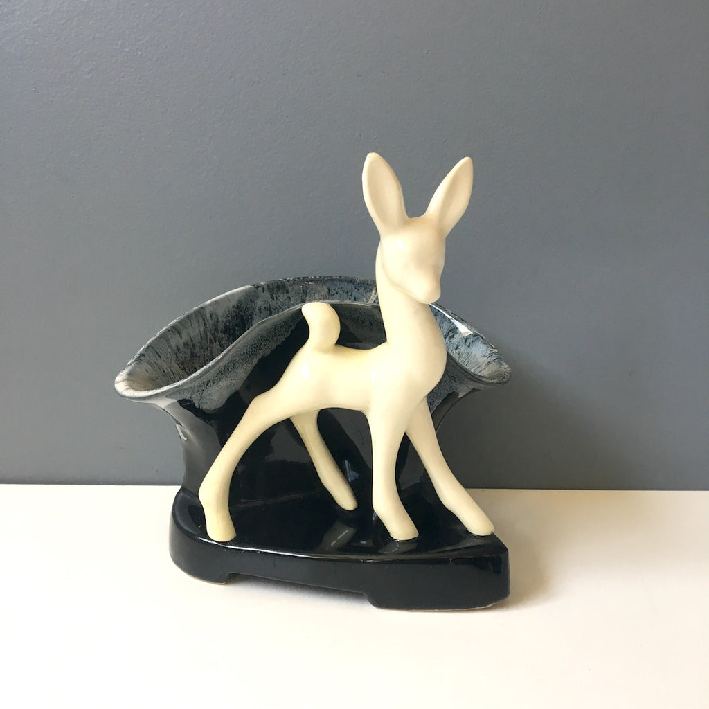 Beauceware deer planter - 1940s vintage art pottery made in Canada - NextStage Vintage