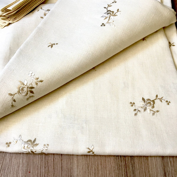 Belgian linen 58x106 oval tablecloth with 12 napkins - Timely Linens - vintage table linens - NextStage Vintage