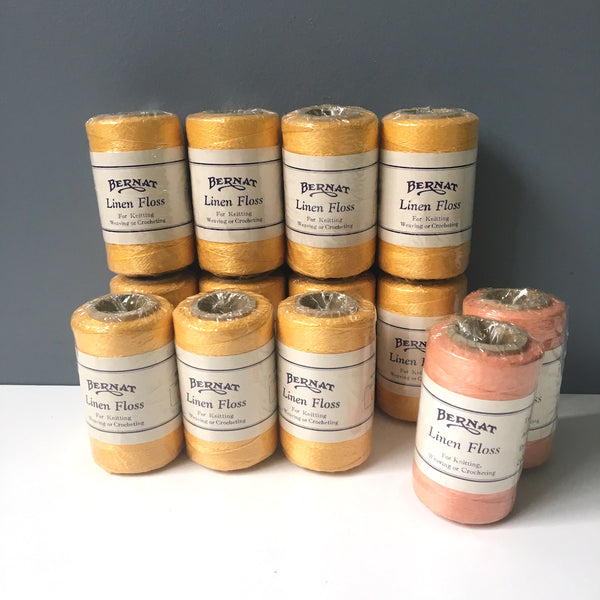 Bernat linen floss - 13 spools in 2 colors - vintage knitting, weaving, crochet thread - NextStage Vintage