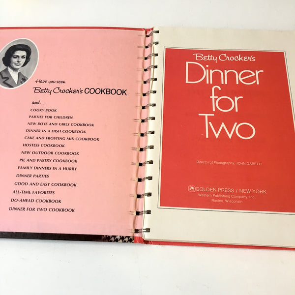 Betty Crocker's Dinner for Two Cookbook - 1973 third edition - hardcover with spiral binding - NextStage Vintage