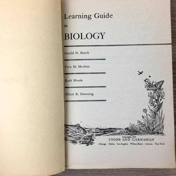 Learning Guide in Biology - Teachers' Edition - Lyons and Carnahan - 1947 textbook