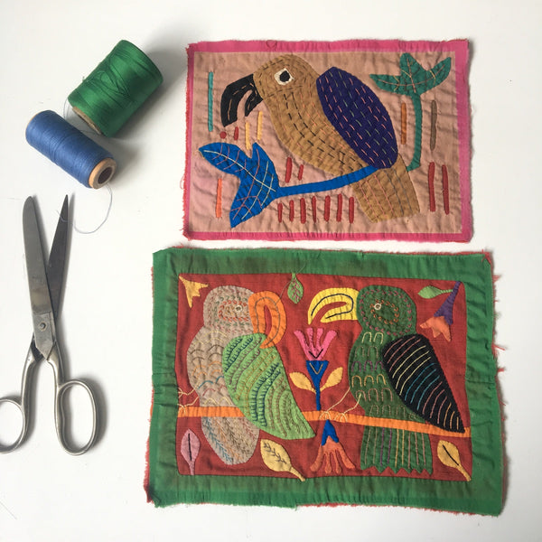Two tropical bird Mexican molas - vintage hand stitched art - NextStage Vintage