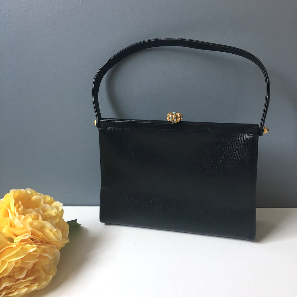 Celebrity Original handbag - black leather with ornate clasp - vintage 1960s - NextStage Vintage