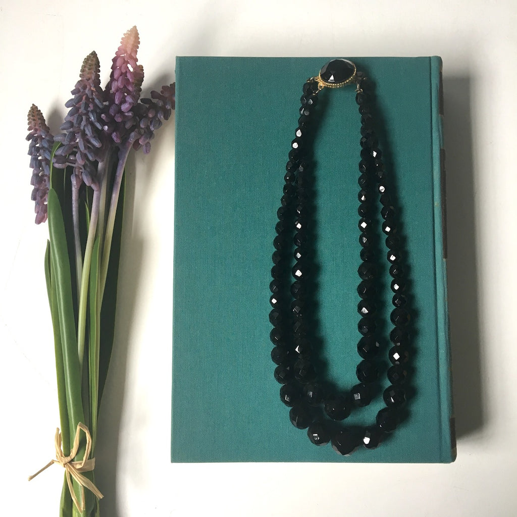 Acrylic faceted black bead two strand necklace - 1960s vintage - NextStage Vintage