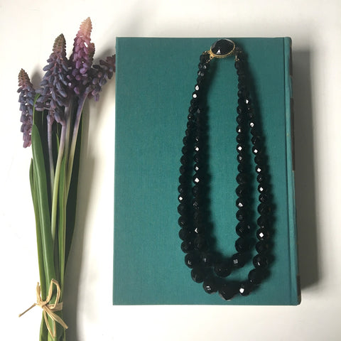 Acrylic faceted black bead two strand necklace - 1960s vintage