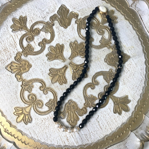 Black faceted bead, pearls and rhinestones necklace - princess length - 1980s vintage - NextStage Vintage