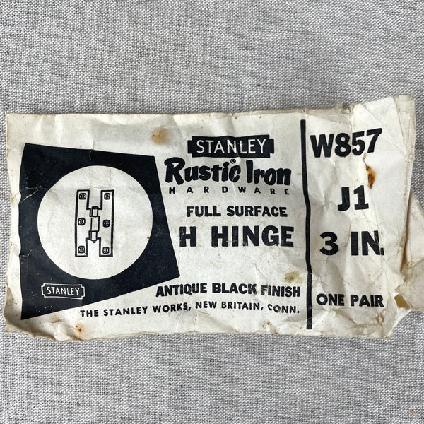 Stanley Antique Black Finish H-hinges collection - 1950s vintage - some NOS - NextStage Vintage