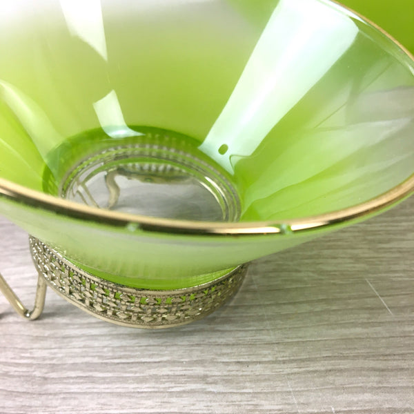 Blendo Chip and Dip set by West Virginia Glass - lime green - 1960s vintage