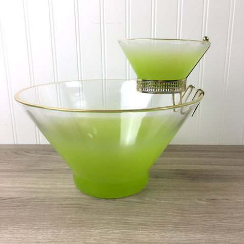 Blendo Chip and Dip set by West Virginia Glass - lime green - 1960s vintage - NextStage Vintage