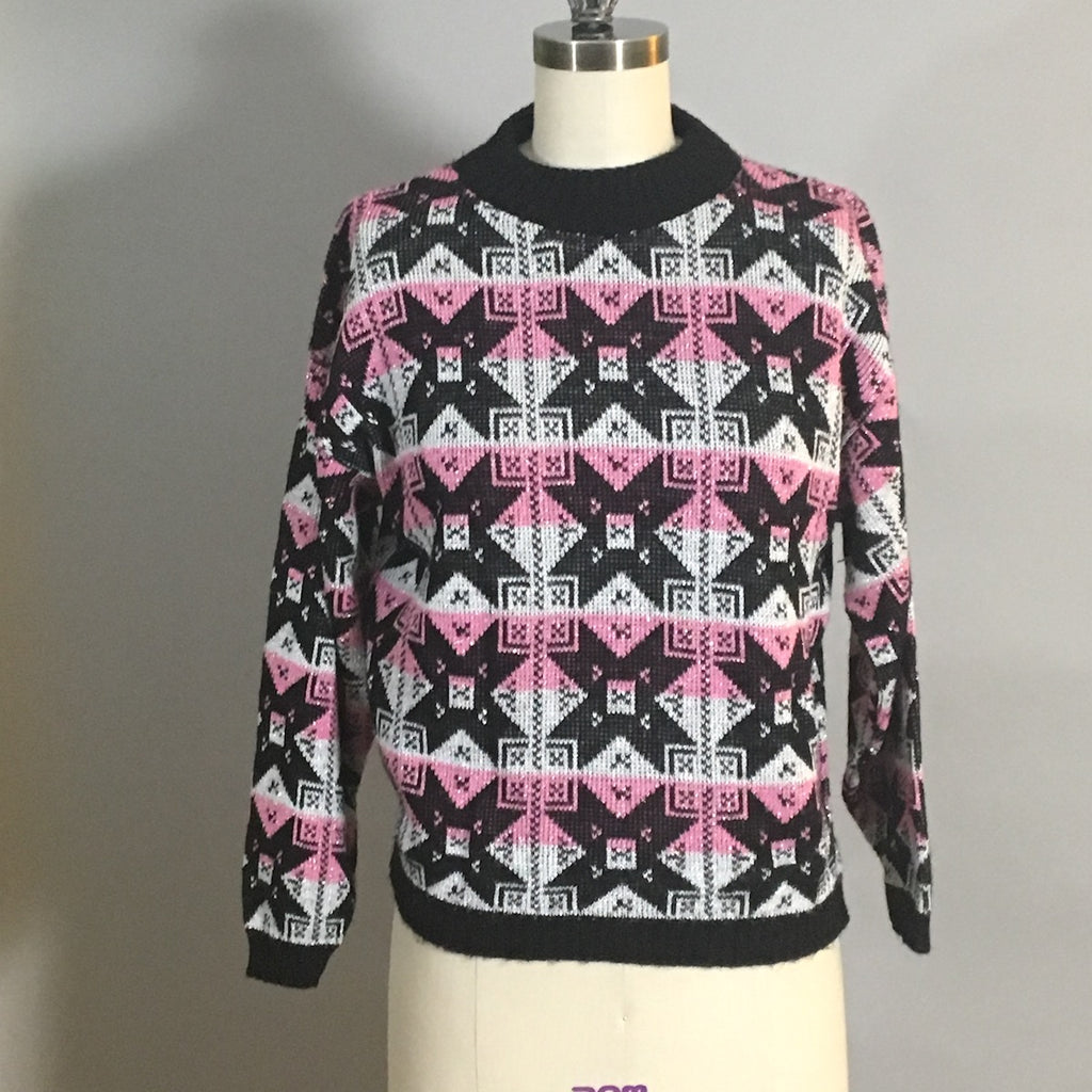 Pink, black, white and silver geometric pullover sweater - 1970s vintage - size M - NextStage Vintage