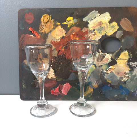 Blown glass stemmed cordial glasses by Karen Wolkoff - set of two - 1970s vintage handmade glass