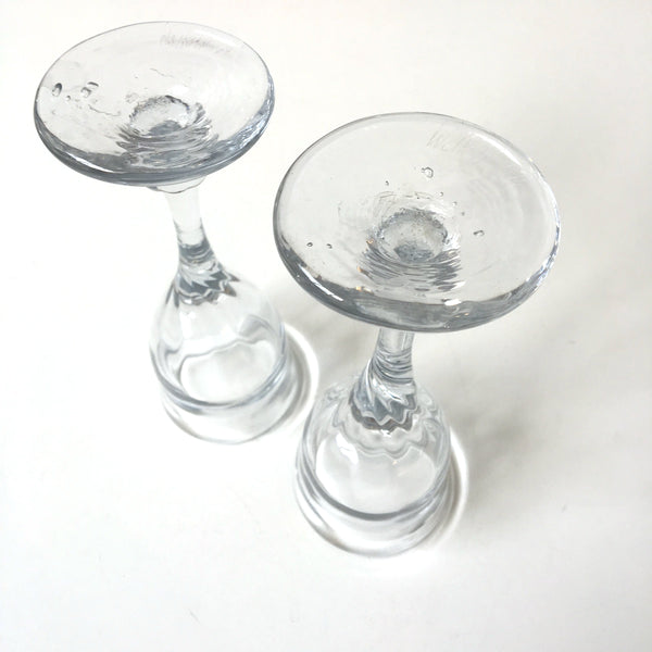 Blown glass stemmed cordial glasses by Karen Wolkoff - set of two - 1970s vintage handmade glass - NextStage Vintage