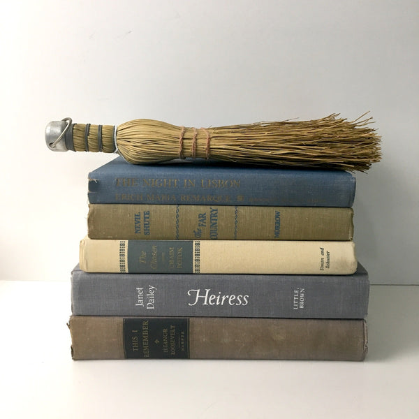 Decorative book stack - shades of tan and blue - vintage book decor - NextStage Vintage