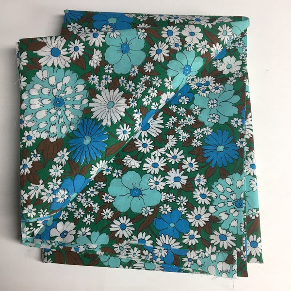 "Mod blue, white and brown floral fabric - 45"" wide - 2.25 yards - NextStage Vintage"