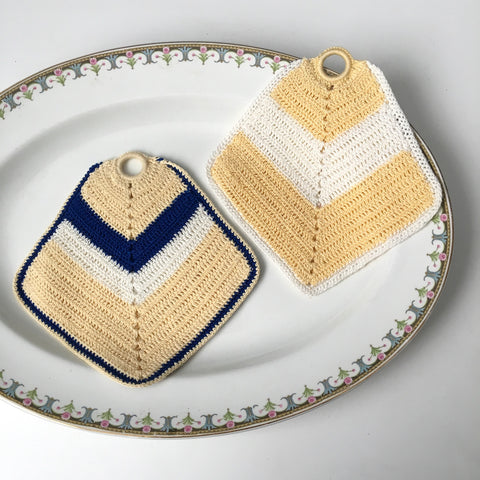 Blue, butter and cream vintage crocheted potholders - vintage kitchen