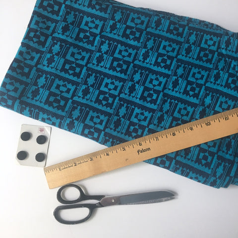 Navy blue and cerulean blue geometric cut and sew knit - 2.5 yd - vintage 1970s fabric - NextStage Vintage