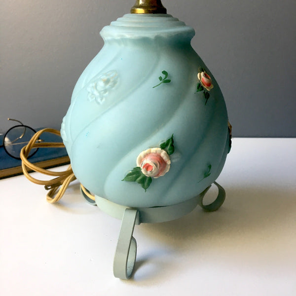 Vintage accent lamp - sky blue with roses - 1960s decorative lighting - NextStage Vintage