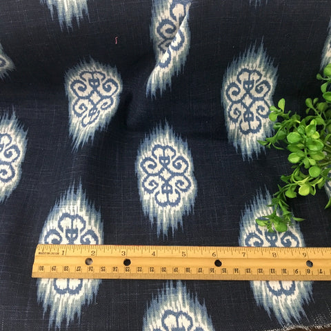 Indigo blue and white medallion print home dec fabric -  1.25 yard - by Microfibers - NextStage Vintage