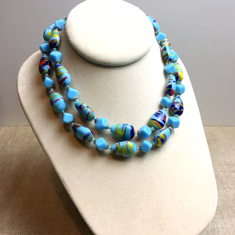 Sky blue confetti glass double strand necklace - vintage beaded jewelry