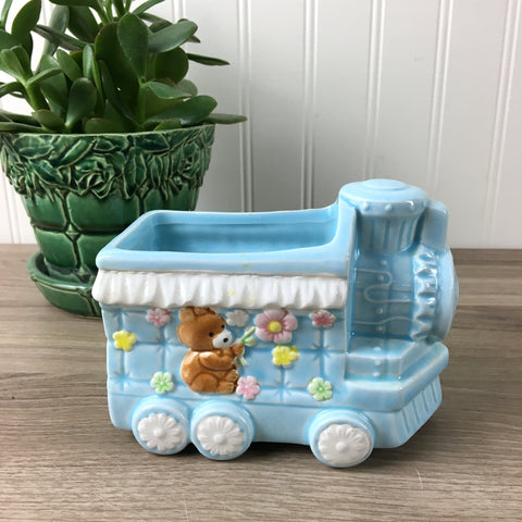 Blue train planter with a bear - vintage baby room decor - NextStage Vintage