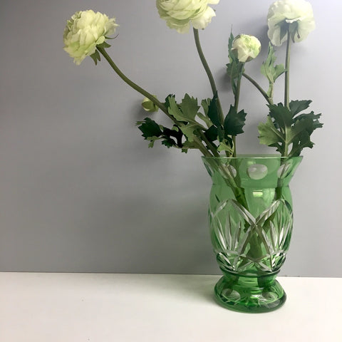 Bohemian glass green flash cut crystal vase - 1960s art glass vase - NextStage Vintage