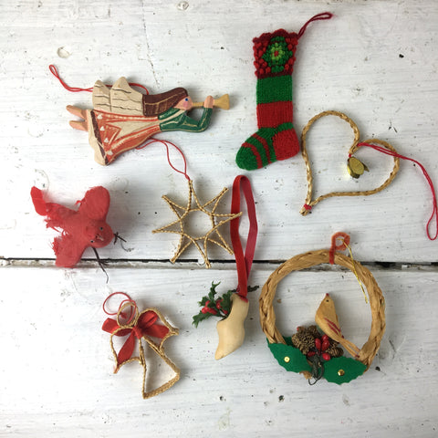 Bohemian Christmas ornaments - set of 8 - vintage wood, straw, knits - NextStage Vintage