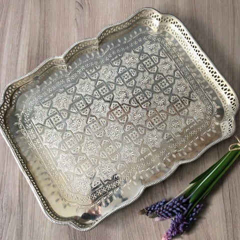 Bohemian silverplate tray - embossed design - 1980s vintage