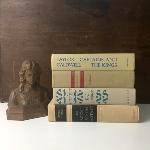 Decorative book stack - bone beige - vintage book decor - NextStage Vintage
