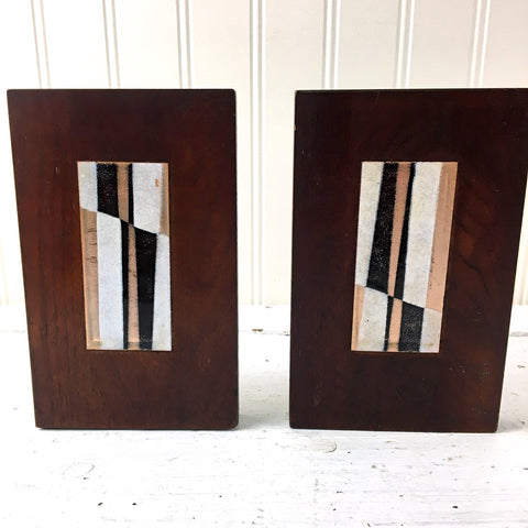 Wood and enamel bookends - 1960s vintage library decor - NextStage Vintage