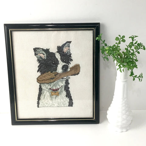 Border collie framed counted cross stitch - hand stitched needlework dog art - fetching a slipper - NextStage Vintage