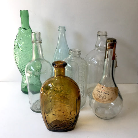 Instant bottle collection - set of 6 mixed age and shape vintage bottles