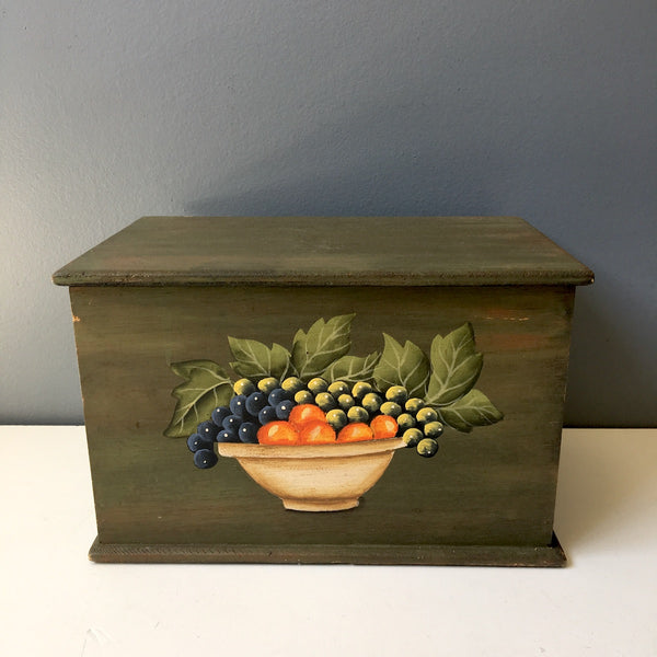 Bowl of fruit painted box - vintage handmade storage - NextStage Vintage